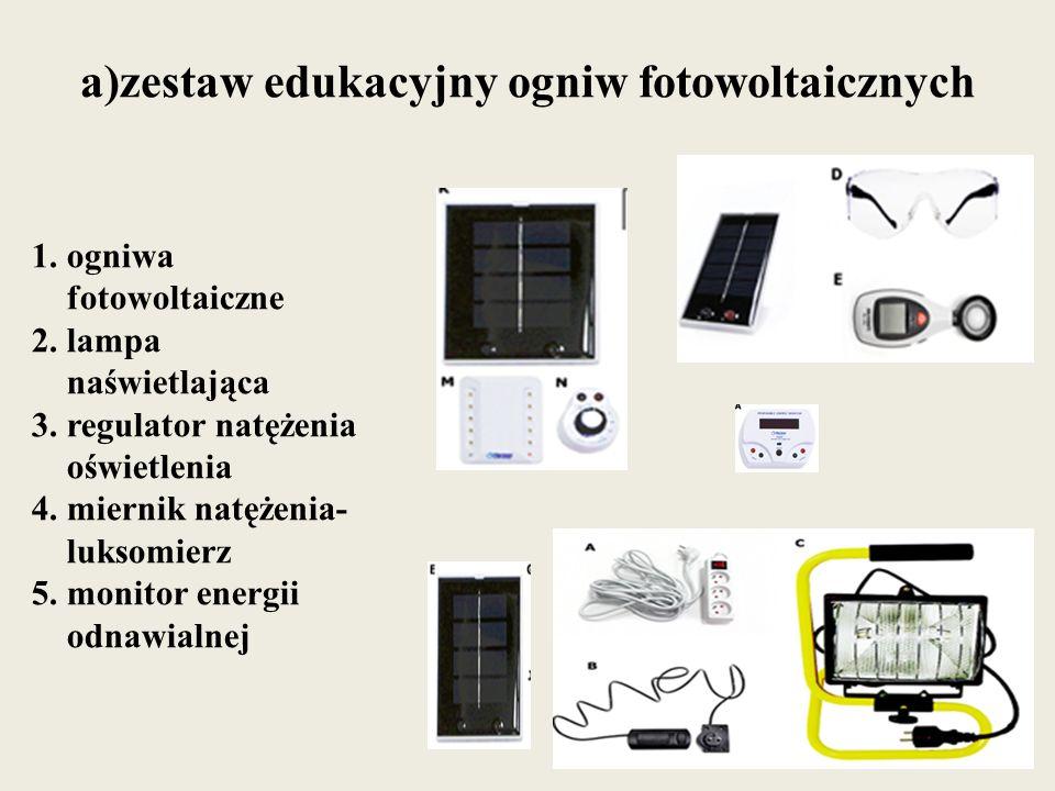 a)zestaw edukacyjny ogniw fotowoltaicznych 1. ogniwa fotowoltaiczne 2. lampa naświetlająca 3. regulator natężenia oświetlenia 4. miernik natężenia- lu