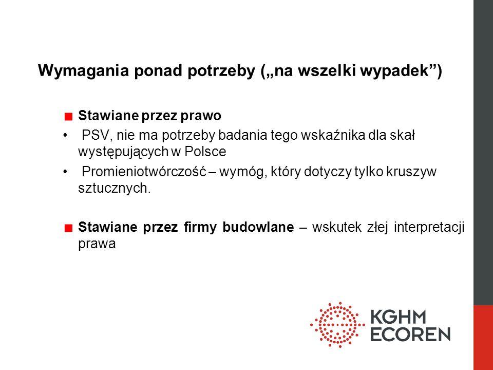 Wymagania ponad potrzeby (na wszelki wypadek) Stawiane przez prawo PSV, nie ma potrzeby badania tego wskaźnika dla skał występujących w Polsce Promien