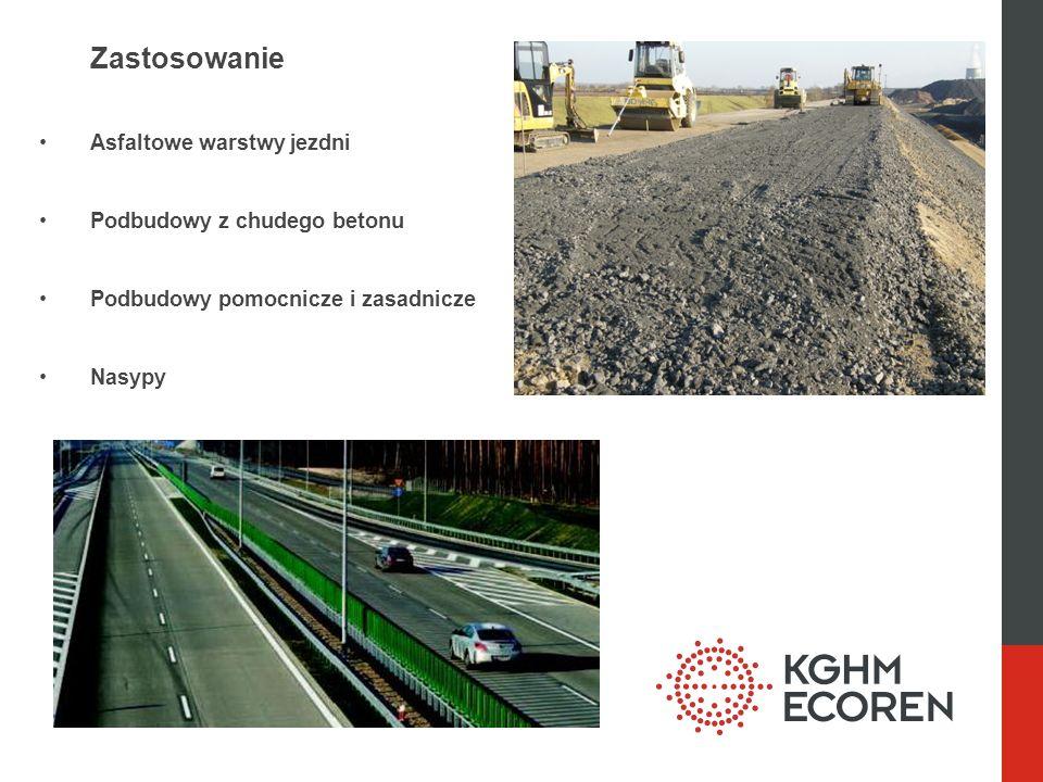 Zastosowanie Asfaltowe warstwy jezdni Podbudowy z chudego betonu Podbudowy pomocnicze i zasadnicze Nasypy