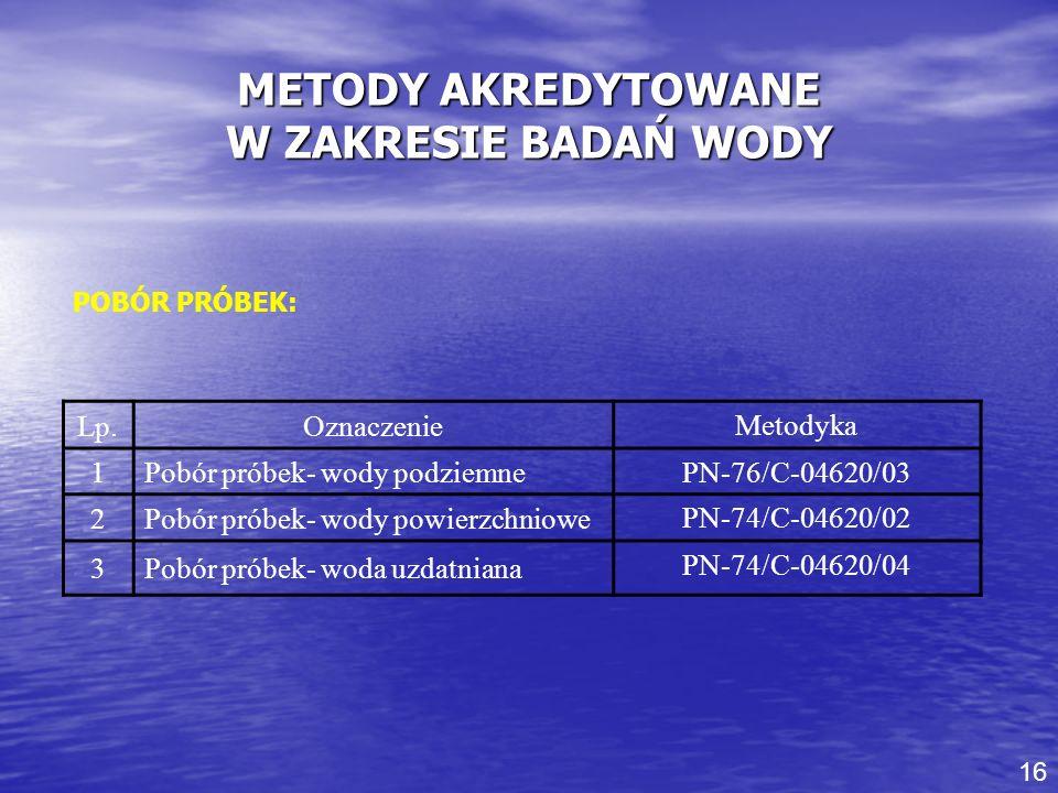 METODY AKREDYTOWANE W ZAKRESIE BADAŃ WODY POBÓR PRÓBEK: Lp.Oznaczenie Metodyka 1Pobór próbek- wody podziemne PN-76/C-04620/03 2Pobór próbek- wody powi