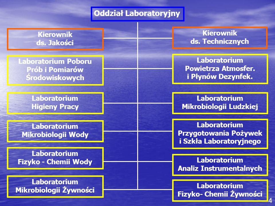 Kierownik ds. Technicznych Kierownik ds. Jakości Oddział Laboratoryjny Laboratorium Mikrobiologii Ludzkiej Laboratorium Poboru Prób i Pomiarów Środowi