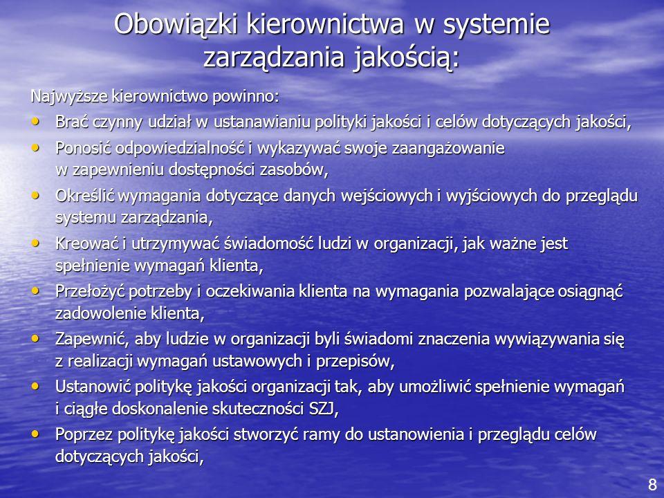 Obowiązki kierownictwa w systemie zarządzania jakością: Najwyższe kierownictwo powinno: Brać czynny udział w ustanawianiu polityki jakości i celów dot