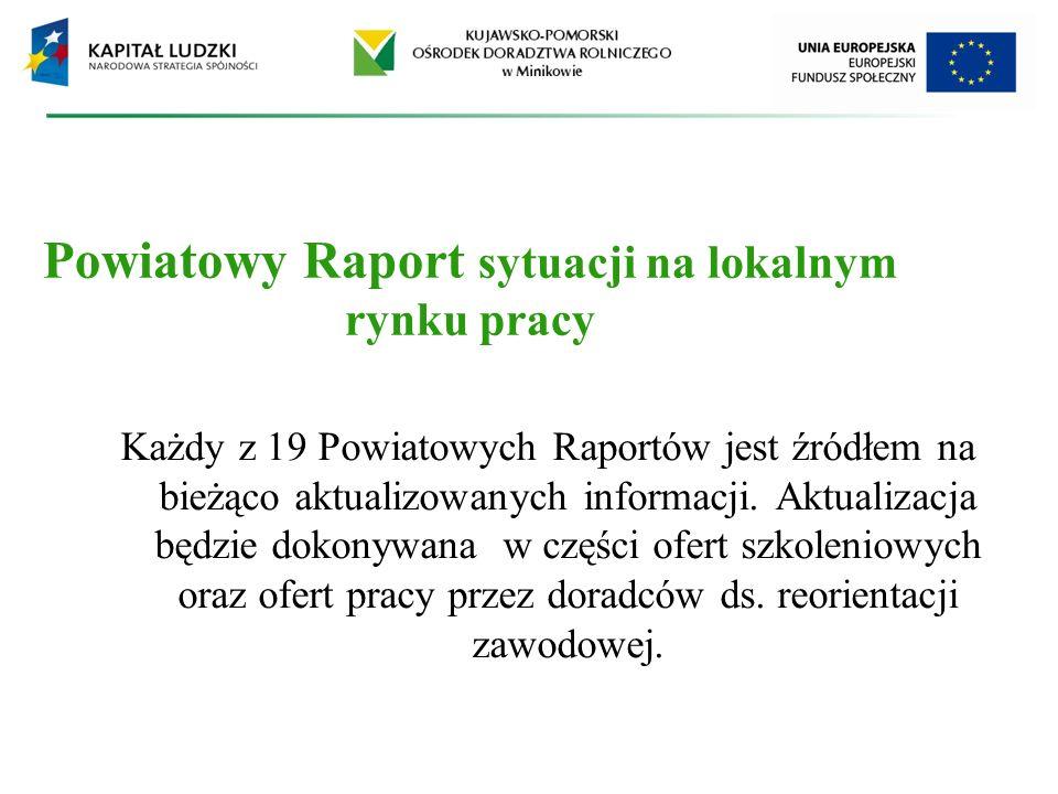 Powiatowy Raport sytuacji na lokalnym rynku pracy Każdy z 19 Powiatowych Raportów jest źródłem na bieżąco aktualizowanych informacji. Aktualizacja będ