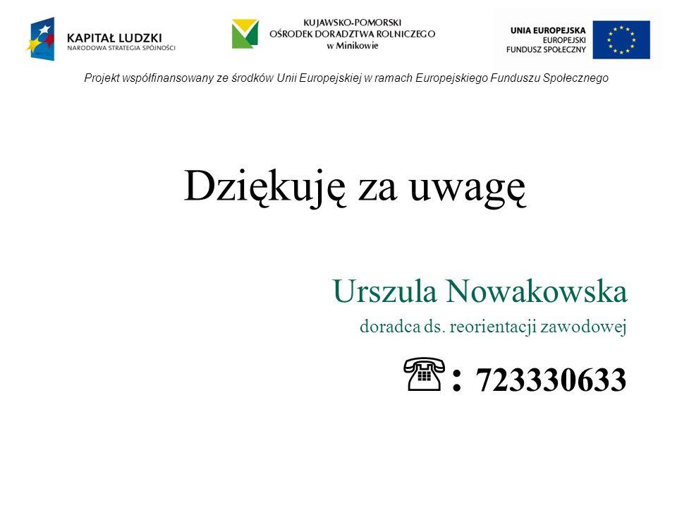 Dziękuję za uwagę Urszula Nowakowska doradca ds. reorientacji zawodowej : 723330633 Projekt współfinansowany ze środków Unii Europejskiej w ramach Eur