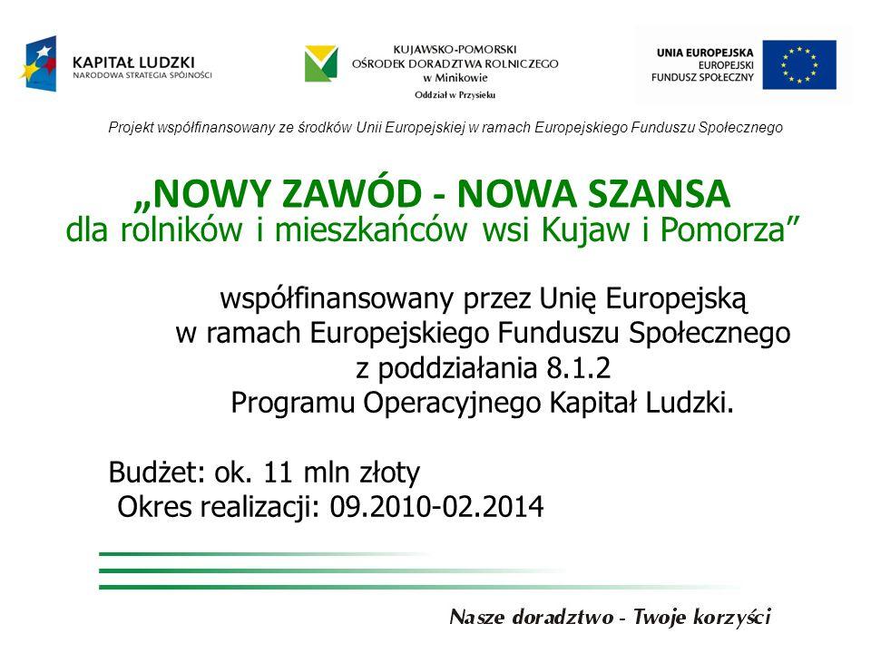 NOWY ZAWÓD - NOWA SZANSA dla rolników i mieszkańców wsi Kujaw i Pomorza współfinansowany przez Unię Europejską w ramach Europejskiego Funduszu Społecznego z poddziałania 8.1.2 Programu Operacyjnego Kapitał Ludzki.