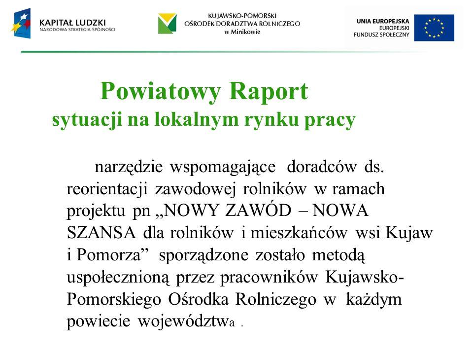 Powiatowy Raport sytuacji na lokalnym rynku pracy narzędzie wspomagające doradców ds. reorientacji zawodowej rolników w ramach projektu pn NOWY ZAWÓD