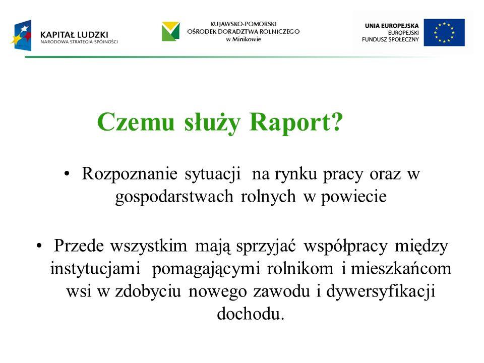 Czemu służy Raport? Rozpoznanie sytuacji na rynku pracy oraz w gospodarstwach rolnych w powiecie Przede wszystkim mają sprzyjać współpracy między inst