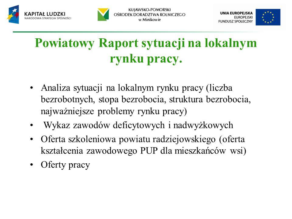 Powiatowy Raport sytuacji na lokalnym rynku pracy. Analiza sytuacji na lokalnym rynku pracy (liczba bezrobotnych, stopa bezrobocia, struktura bezroboc