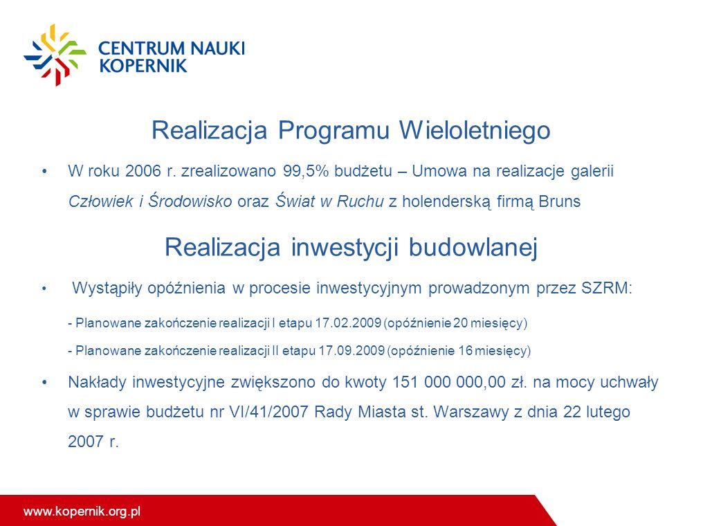 www.kopernik.org.pl Realizacja Programu Wieloletniego W roku 2006 r. zrealizowano 99,5% budżetu – Umowa na realizacje galerii Człowiek i Środowisko or