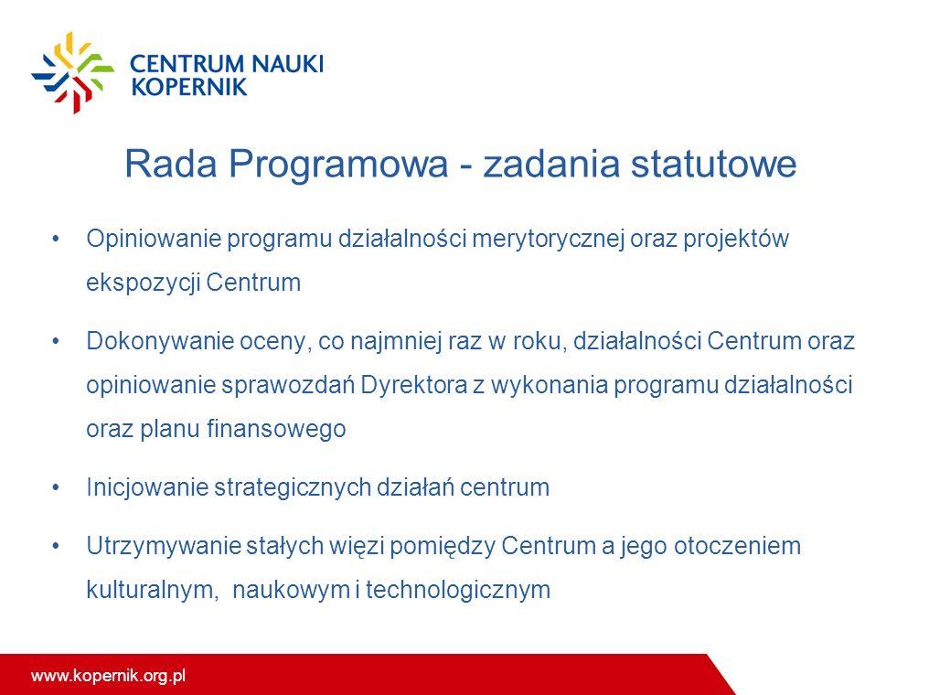 www.kopernik.org.pl Rada Programowa - zadania statutowe Opiniowanie programu działalności merytorycznej oraz projektów ekspozycji Centrum Dokonywanie