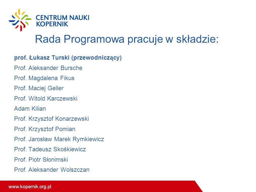 www.kopernik.org.pl Rada Programowa pracuje w składzie: prof. Łukasz Turski (przewodniczący) Prof. Aleksander Bursche Prof. Magdalena Fikus Prof. Maci