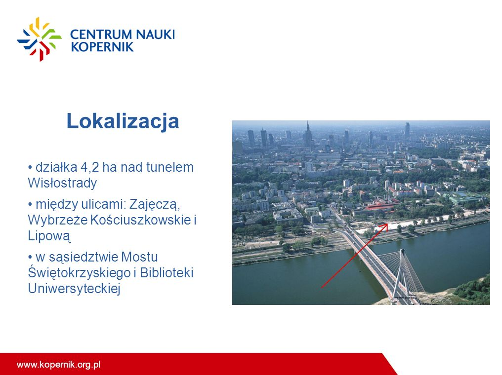 www.kopernik.org.pl Lokalizacja działka 4,2 ha nad tunelem Wisłostrady między ulicami: Zajęczą, Wybrzeże Kościuszkowskie i Lipową w sąsiedztwie Mostu