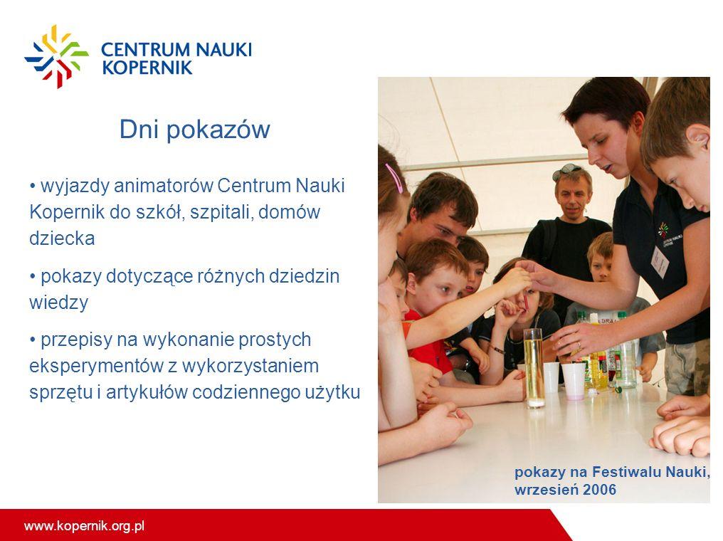 www.kopernik.org.pl Dni pokazów wyjazdy animatorów Centrum Nauki Kopernik do szkół, szpitali, domów dziecka pokazy dotyczące różnych dziedzin wiedzy p