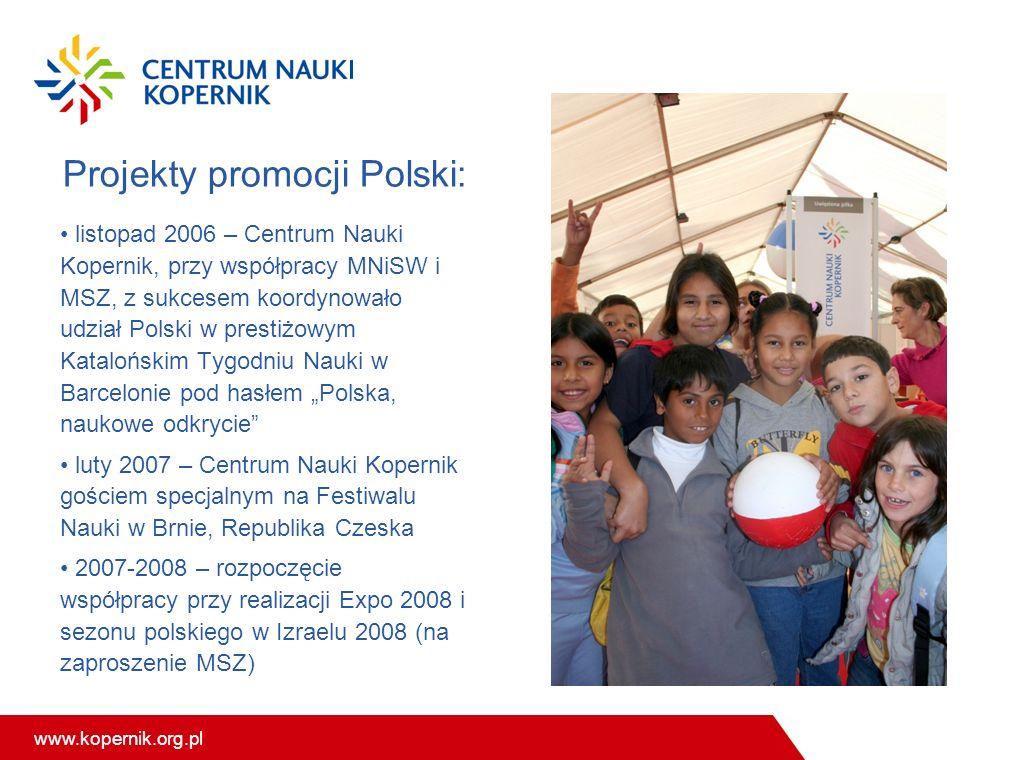 www.kopernik.org.pl Projekty promocji Polski: listopad 2006 – Centrum Nauki Kopernik, przy współpracy MNiSW i MSZ, z sukcesem koordynowało udział Pols