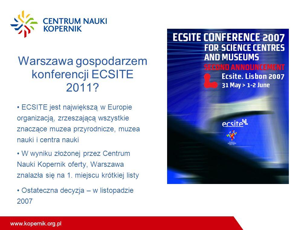 www.kopernik.org.pl Warszawa gospodarzem konferencji ECSITE 2011? ECSITE jest największą w Europie organizacją, zrzeszającą wszystkie znaczące muzea p