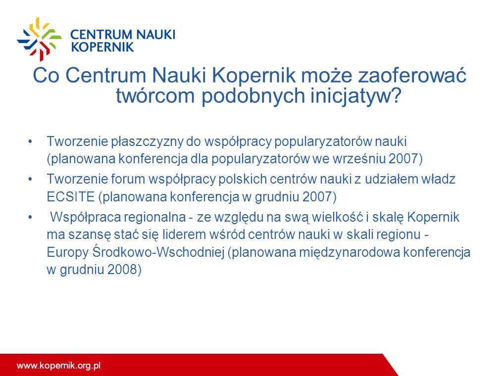 www.kopernik.org.pl Co Centrum Nauki Kopernik może zaoferować twórcom podobnych inicjatyw? Tworzenie płaszczyzny do współpracy popularyzatorów nauki (