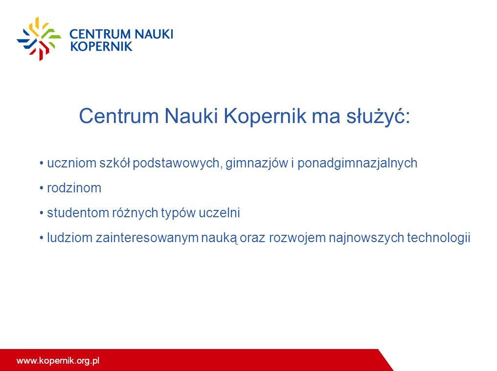 www.kopernik.org.pl Centrum Nauki Kopernik ma służyć: uczniom szkół podstawowych, gimnazjów i ponadgimnazjalnych rodzinom studentom różnych typów uczelni ludziom zainteresowanym nauką oraz rozwojem najnowszych technologii