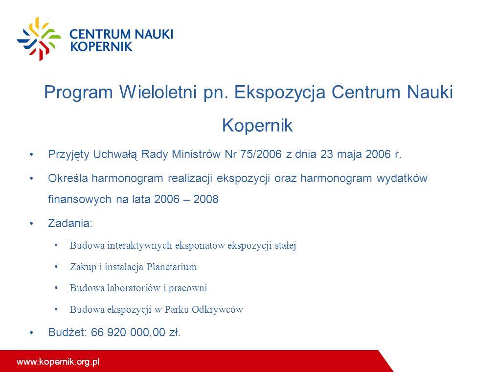 www.kopernik.org.pl Program Wieloletni pn. Ekspozycja Centrum Nauki Kopernik Przyjęty Uchwałą Rady Ministrów Nr 75/2006 z dnia 23 maja 2006 r. Określa