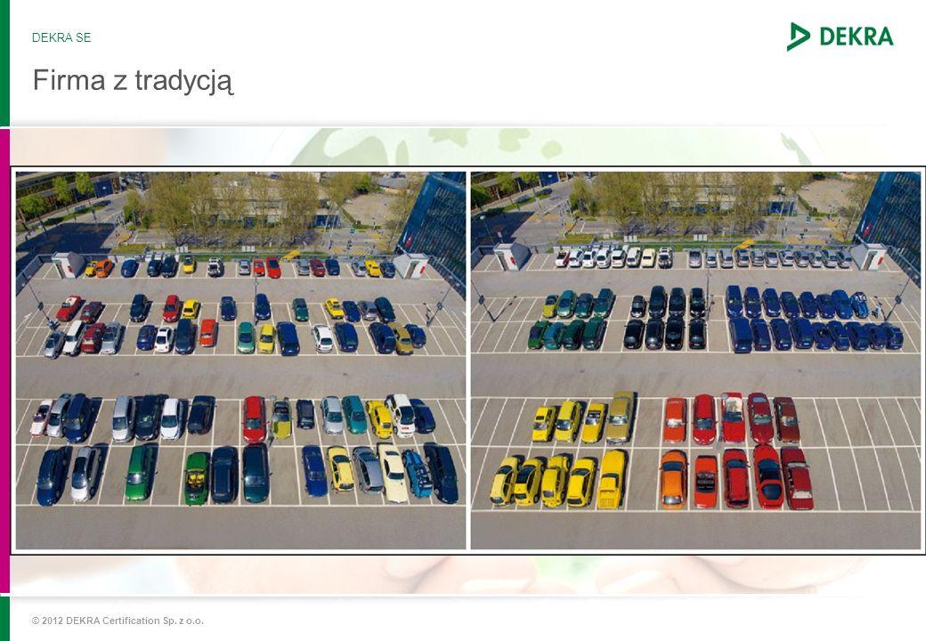 © 2012 DEKRA Certification Sp. z o.o. Firma z tradycją DEKRA SE Zatwierdzone jako oficjalna organizacja kontroli pojazdów 1960 Rozpoczęcie działalnośc