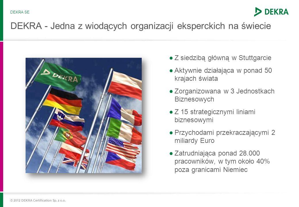 © 2012 DEKRA Certification Sp. z o.o. DEKRA - Jedna z wiodących organizacji eksperckich na świecie Z siedzibą główną w Stuttgarcie Aktywnie działająca