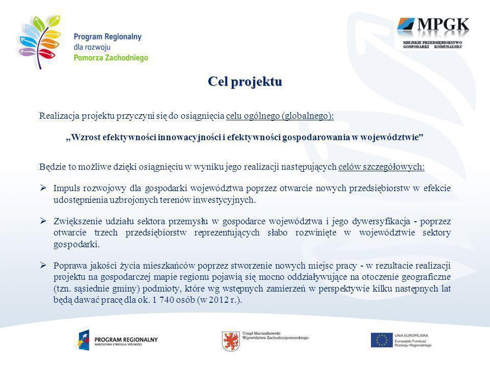 Cel projektu Realizacja projektu przyczyni się do osiągnięcia celu ogólnego (globalnego): Wzrost efektywności innowacyjności i efektywności gospodarow
