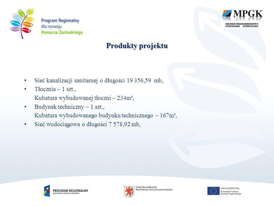 Produkty projektu Sieć kanalizacji sanitarnej o długości 19 356,59 mb, Tłocznia – 1 szt., Kubatura wybudowanej tłoczni – 234m³, Budynek techniczny – 1