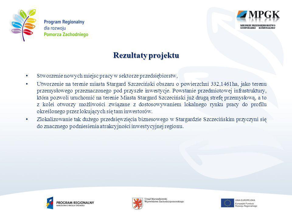 Rezultaty projektu Stworzenie nowych miejsc pracy w sektorze przedsiębiorstw, Utworzenie na terenie miasta Stargard Szczeciński obszaru o powierzchni 332,1461ha, jako terenu przemysłowego przeznaczonego pod przyszłe inwestycje.