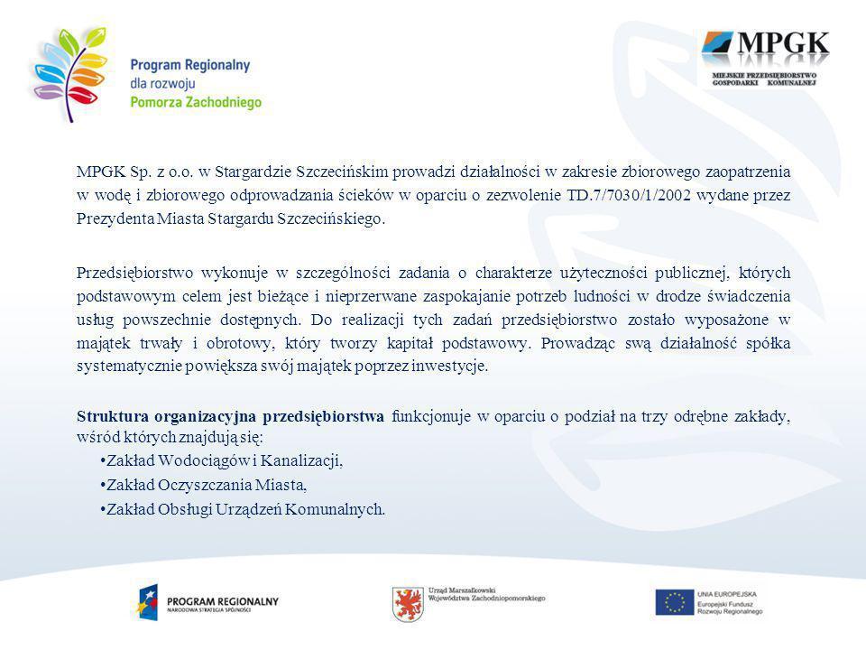 MPGK Sp. z o.o. w Stargardzie Szczecińskim prowadzi działalności w zakresie zbiorowego zaopatrzenia w wodę i zbiorowego odprowadzania ścieków w oparci