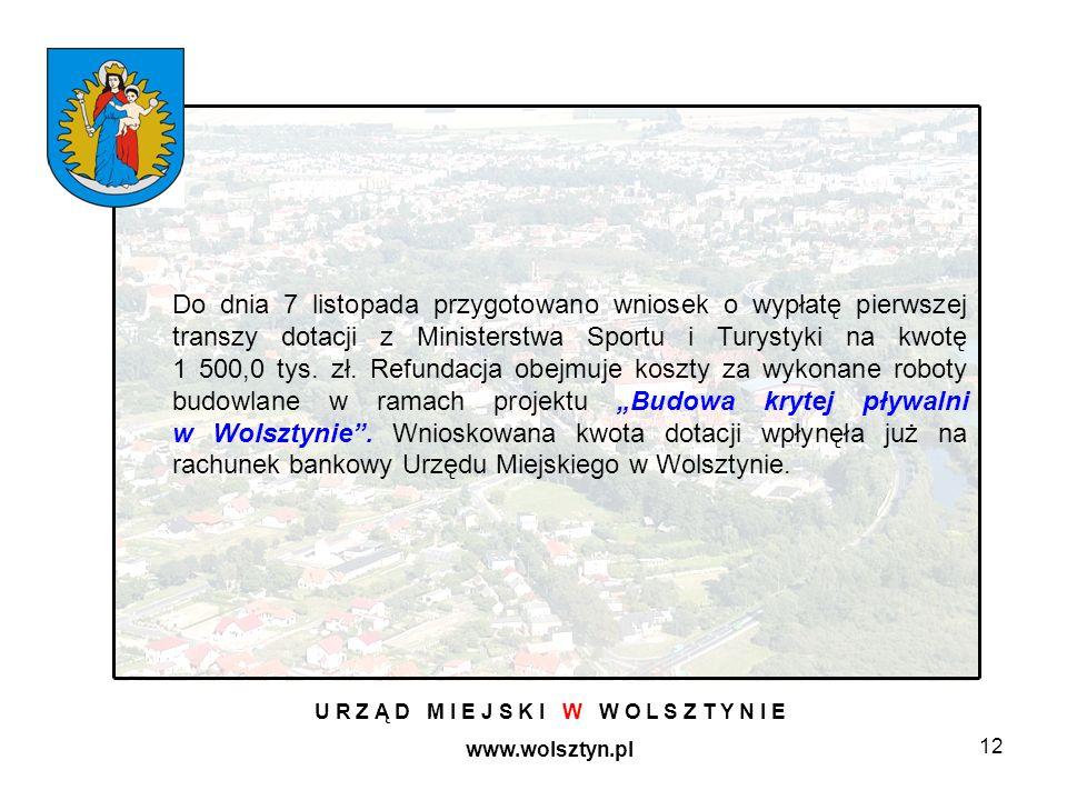 12 U R Z Ą D M I E J S K I W W O L S Z T Y N I E www.wolsztyn.pl Do dnia 7 listopada przygotowano wniosek o wypłatę pierwszej transzy dotacji z Ministerstwa Sportu i Turystyki na kwotę 1 500,0 tys.