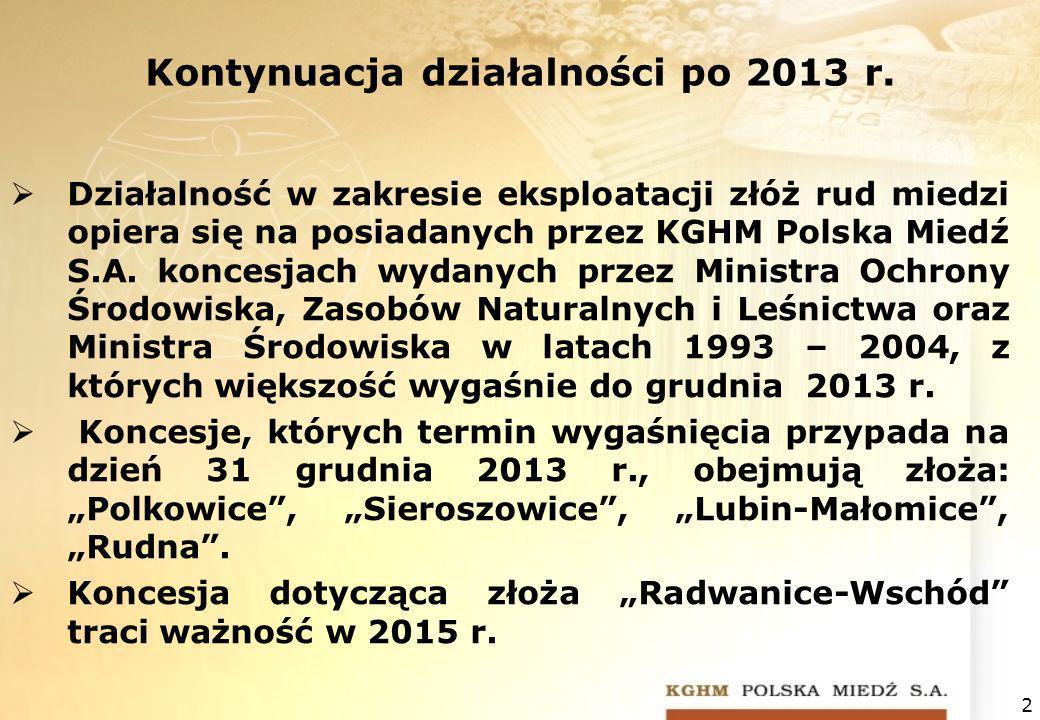 Kontynuacja działalności po 2013 r. Działalność w zakresie eksploatacji złóż rud miedzi opiera się na posiadanych przez KGHM Polska Miedź S.A. koncesj