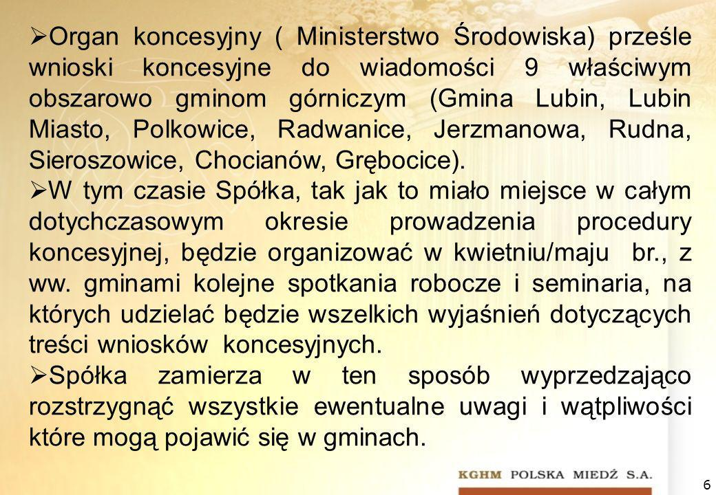 6 Organ koncesyjny ( Ministerstwo Środowiska) prześle wnioski koncesyjne do wiadomości 9 właściwym obszarowo gminom górniczym (Gmina Lubin, Lubin Miasto, Polkowice, Radwanice, Jerzmanowa, Rudna, Sieroszowice, Chocianów, Grębocice).
