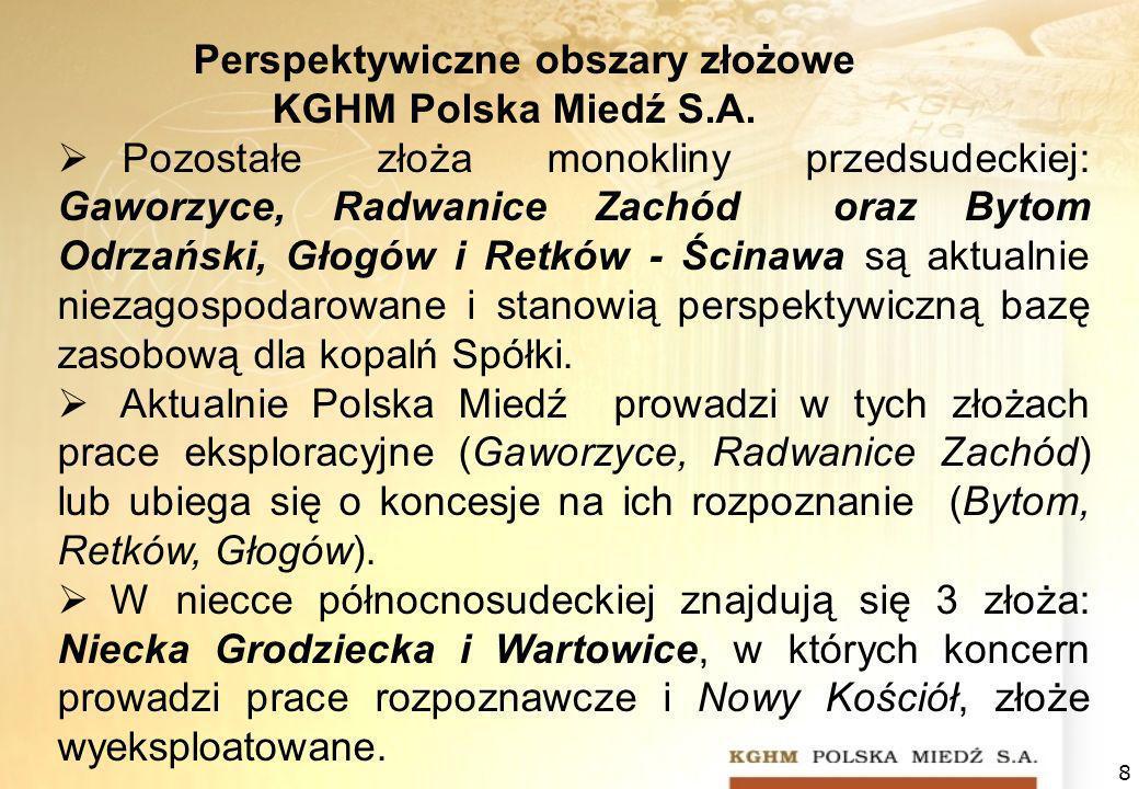 8 Perspektywiczne obszary złożowe KGHM Polska Miedź S.A. Pozostałe złoża monokliny przedsudeckiej: Gaworzyce, Radwanice Zachód oraz Bytom Odrzański, G