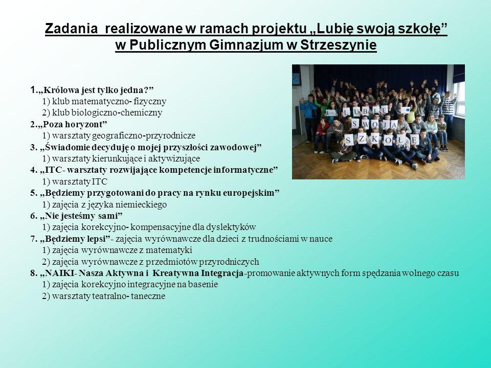 Liczba uczniów realizujących projekt 7 3 dziewczęta i 4 chłopców 30 13 dziewcząt i 17 chłopców Pierwsza rekrutacja -styczeń 2011 r.