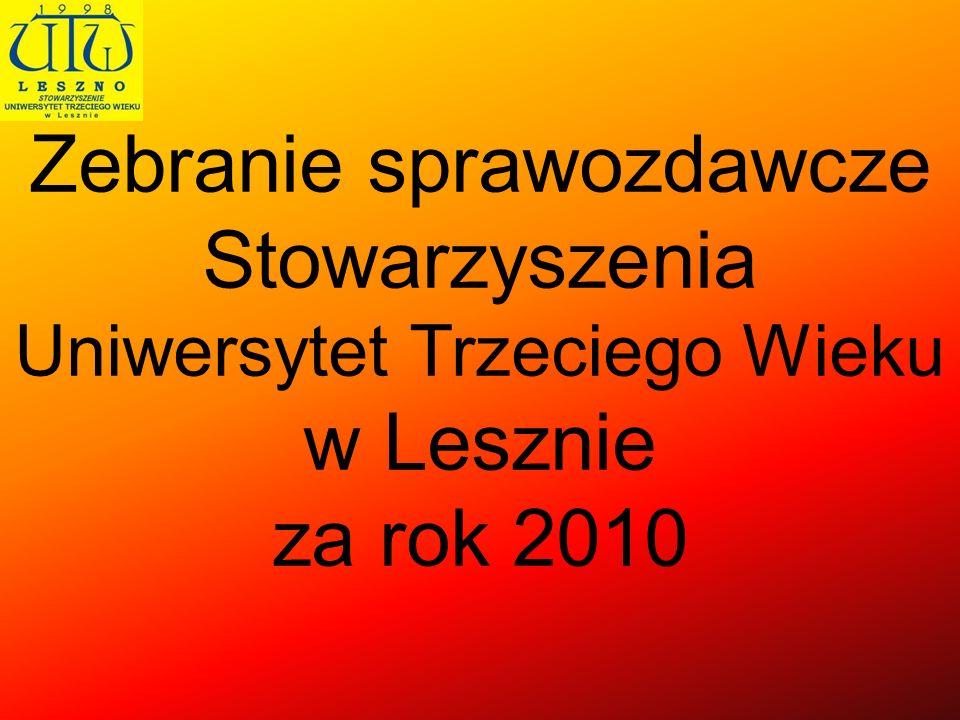 Zebranie sprawozdawcze Stowarzyszenia Uniwersytet Trzeciego Wieku w Lesznie za rok 2010