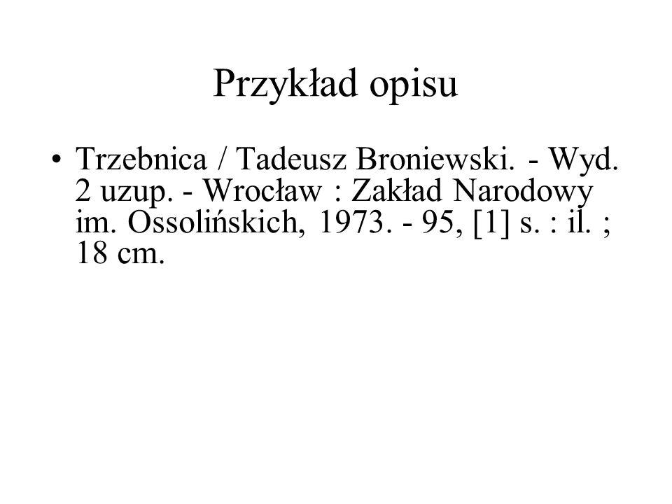 Przykład opisu Trzebnica / Tadeusz Broniewski.- Wyd.
