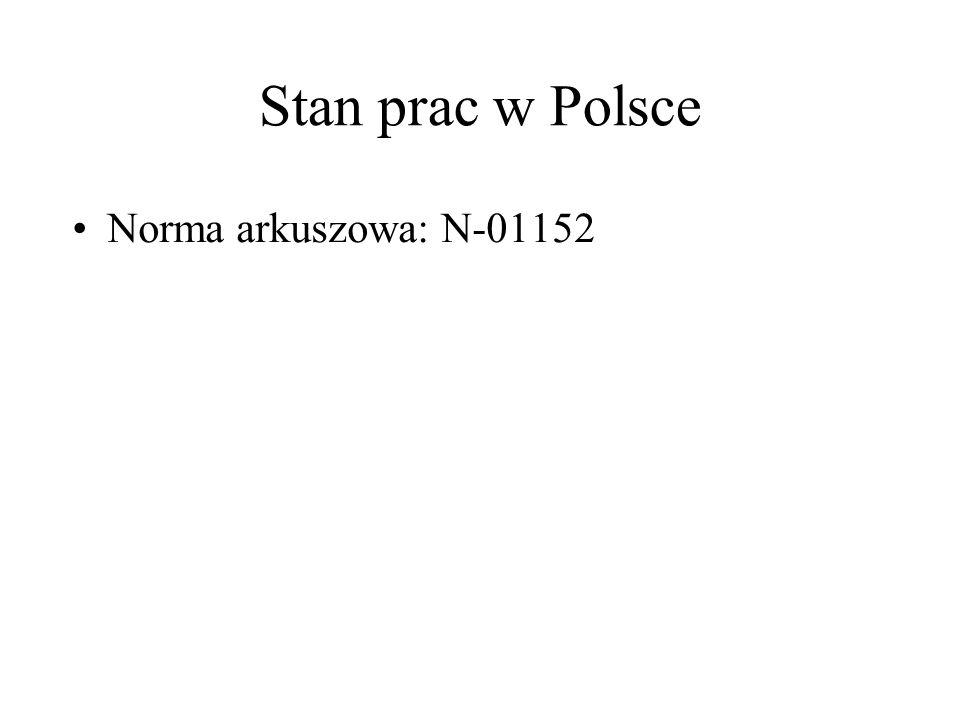 Stan prac w Polsce Norma arkuszowa: N-01152