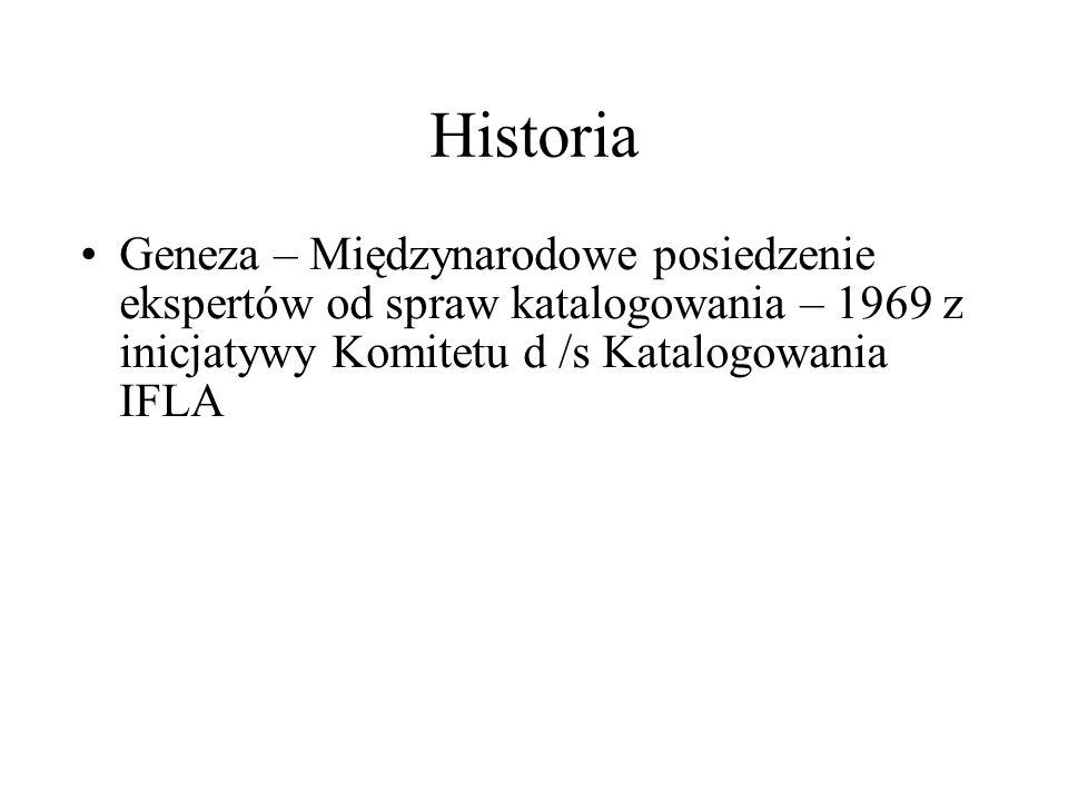 Historia Geneza – Międzynarodowe posiedzenie ekspertów od spraw katalogowania – 1969 z inicjatywy Komitetu d /s Katalogowania IFLA
