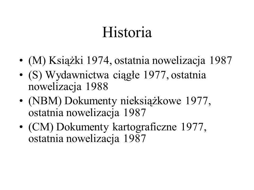 Historia (M) Książki 1974, ostatnia nowelizacja 1987 (S) Wydawnictwa ciągłe 1977, ostatnia nowelizacja 1988 (NBM) Dokumenty nieksiążkowe 1977, ostatnia nowelizacja 1987 (CM) Dokumenty kartograficzne 1977, ostatnia nowelizacja 1987