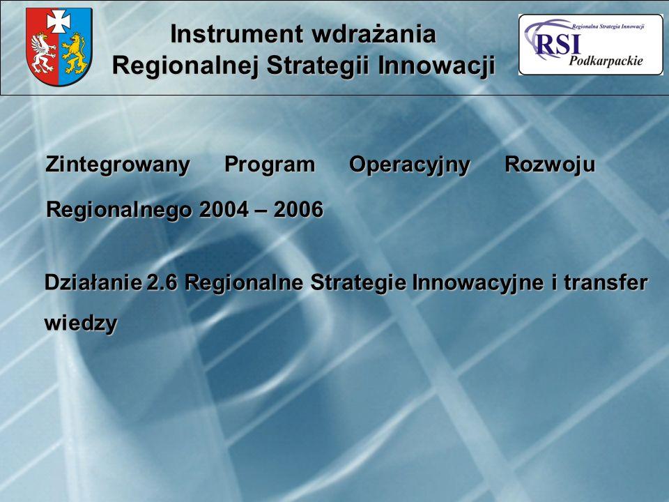 Zintegrowany Program Operacyjny Rozwoju Regionalnego 2004 – 2006 Instrument wdrażania Regionalnej Strategii Innowacji Działanie 2.6 Regionalne Strateg