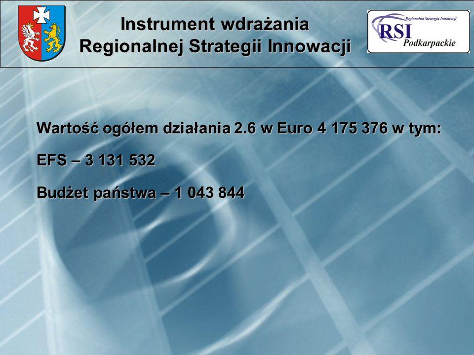 Instrument wdrażania Regionalnej Strategii Innowacji Wartość ogółem działania 2.6 w Euro 4 175 376 w tym: EFS – 3 131 532 Budżet państwa – 1 043 844