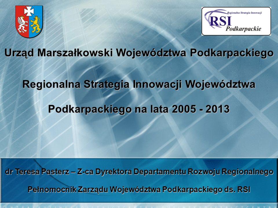Urząd Marszałkowski Województwa Podkarpackiego Regionalna Strategia Innowacji Województwa Podkarpackiego na lata 2005 - 2013 dr Teresa Pasterz – Z-ca