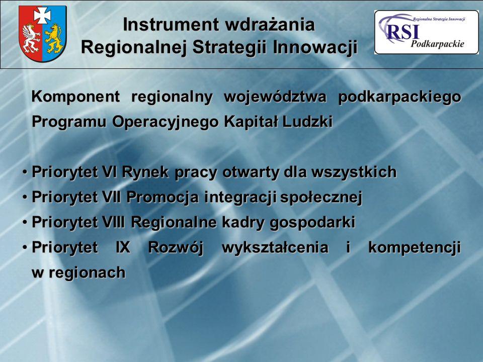 Komponent regionalny województwa podkarpackiego Programu Operacyjnego Kapitał Ludzki Komponent regionalny województwa podkarpackiego Programu Operacyj