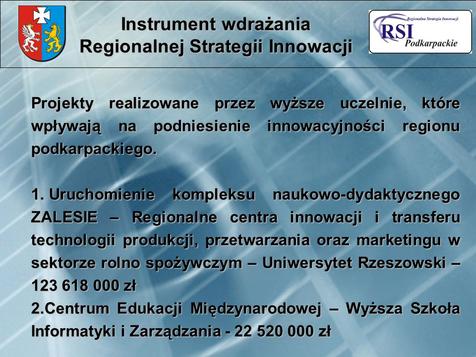Projekty realizowane przez wyższe uczelnie, które wpływają na podniesienie innowacyjności regionu podkarpackiego. 1. Uruchomienie kompleksu naukowo-dy