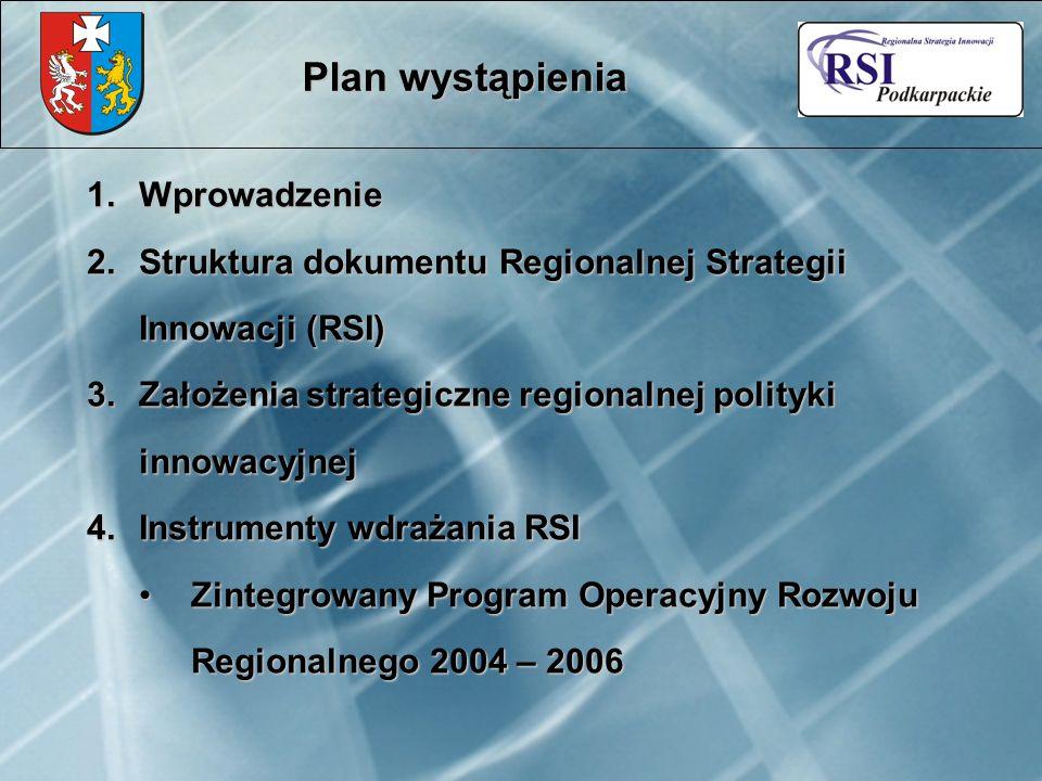Plan wystąpienia 1.Wprowadzenie 2.Struktura dokumentu Regionalnej Strategii Innowacji (RSI) 3.Założenia strategiczne regionalnej polityki innowacyjnej