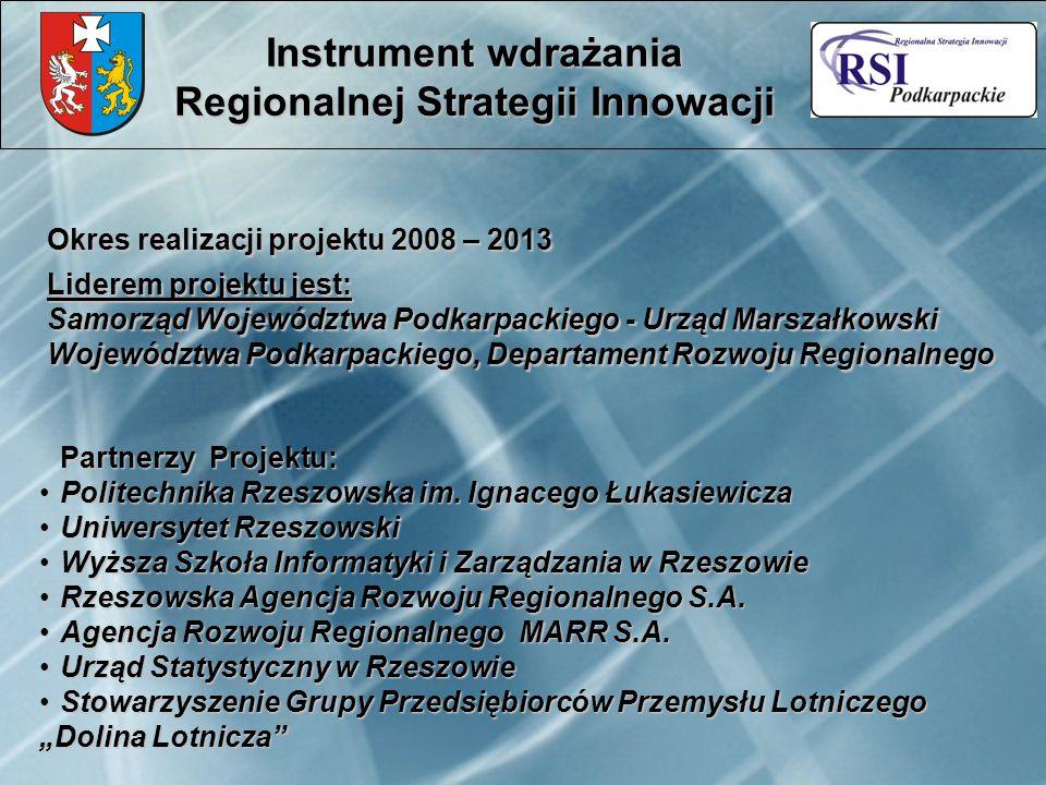 Okres realizacji projektu 2008 – 2013 Liderem projektu jest: Samorząd Województwa Podkarpackiego - Urząd Marszałkowski Województwa Podkarpackiego, Dep