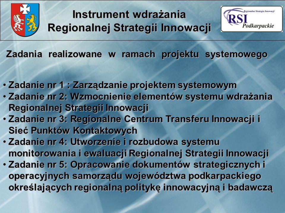Zadania realizowane w ramach projektu systemowego Instrument wdrażania Regionalnej Strategii Innowacji Zadanie nr 1 : Zarządzanie projektem systemowym