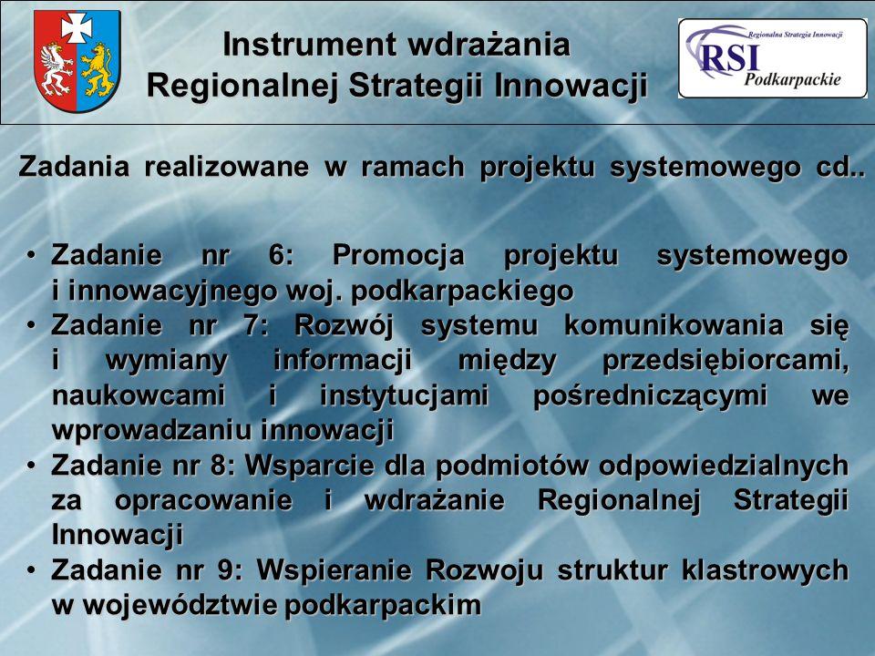 Zadania realizowane w ramach projektu systemowego cd.. Instrument wdrażania Regionalnej Strategii Innowacji Zadanie nr 6: Promocja projektu systemoweg