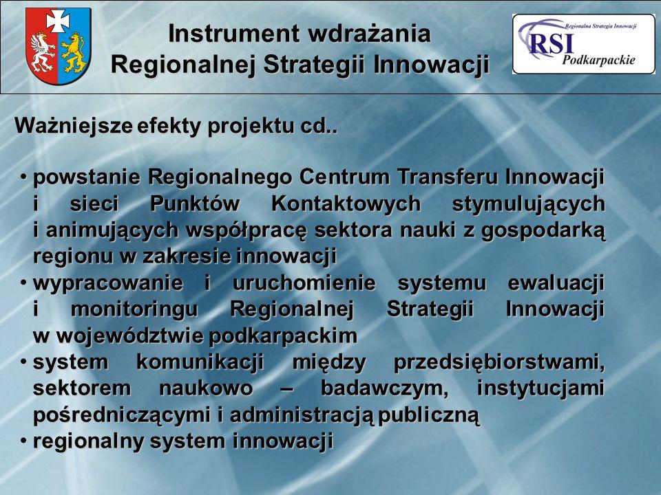 Ważniejsze efekty projektu cd.. Instrument wdrażania Regionalnej Strategii Innowacji powstanie Regionalnego Centrum Transferu Innowacji i sieci Punktó