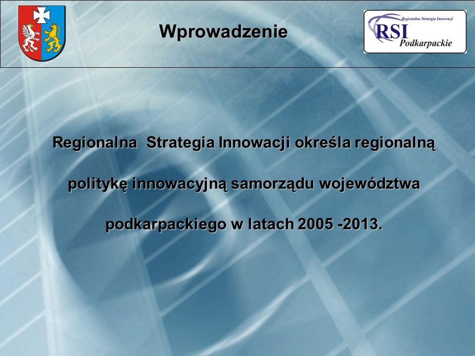 Regionalna Strategia Innowacji określa regionalną politykę innowacyjną samorządu województwa podkarpackiego w latach 2005 -2013. Wprowadzenie
