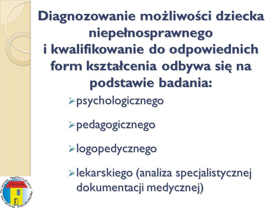 Diagnozowanie możliwości dziecka niepełnosprawnego i kwalifikowanie do odpowiednich form kształcenia odbywa się na podstawie badania: psychologicznego
